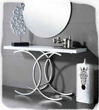 Gogo 1400 White Hi Gloss Hall Table with Stainless Steel Base - BRAND NEW