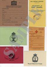 WW2 ID Card, R.O.C, Fire Guard, Land Army, St John Ambulance, LDV or Red Cross.