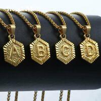 "18"" Gold Plated Hexagon Initial Letter A-Z Pendant Monogram Necklace Women Men"