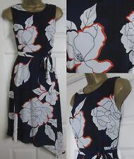 EX Debenhams Petite Tea Dress Midi Floral Print Occasion Navy Orange Ivory 6-18