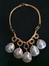 Stunning Statement Mother Of Pearl Necklace in Copper Wire