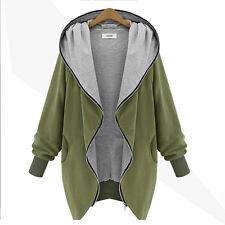 Womens Zip-Up Hooded Coat Jacket Oversized Cardigan Top Cloak Sweatshirt Outwear