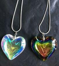 45mm Fashion heart Crystal Glass Pendants Vintage Statement chian Necklaces