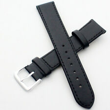 Women Mens Vintage Black Leather Wrist Watch Band Watchband Watch Strap 8mm