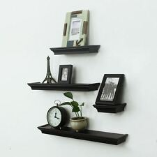 Adeco 4-Piece Black Wood Horizontal Floating Wall Shelves For Home Wall Decor