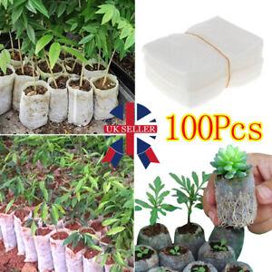 100Pcs Biodegradable Plant Grow Nursery Bag Seedling Seed Non-Woven Pots Kit HOT