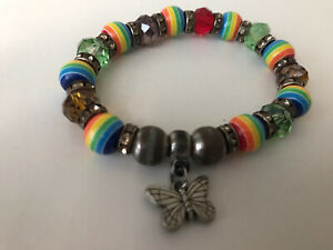 LGBT Gay Pride Rainbow Beaded Bead Butterfly Bracelet