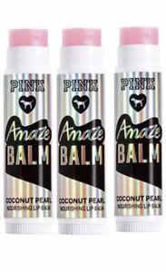 3 Victoria's Secret PINK Coconut Pearl Amaze Coconut Nourishing Lip Balm. New