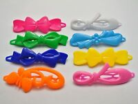 24 Mixed Color Assorted Plastic Hair Frog Barrette Clip Bow Pin DIY Craft