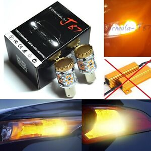 Hyper Flash Free LED Light 7506 Amber Two Bulbs Front Turn Signal Replacement OE