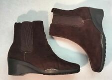 Aerosoles 7 Brown Faux Suede Wedge Ankle Boots Womens Heels