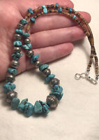 """#1288 Navajo Flower Stamped Seamed 925 Silver Bench Beads Turquoise 20"""" Necklace"""