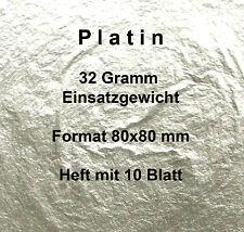 "Platin 10 Blatt 8x8 cm ""lose"" 32 Gr (Reagenzien Edelmetall Blattgold Blattsilber"