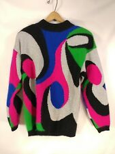 "Vtg 80s Rafaella Sweater Angora Lambswool Fuzzy Cozy Soft Metallic M - 19"" Chest"