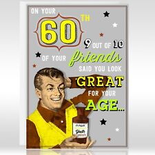 60th Male Birthday Card - Funny Humour Joke Vintage Retro Age Green