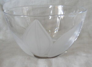 J G DURAND LEAD CRYSTAL BOWL VAL D'ISERE FRANCE FROSTED DESIGN