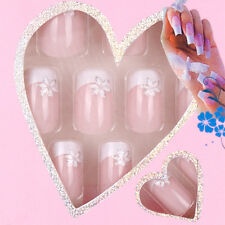 24pc Set Pre Design Acrylic Nail Tips False French Full Nails Art w/ Glue BC1224