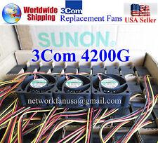 Set of 3x Quiet Version replacement fans for 3Com Switch 4200G 18dBA Noise