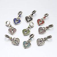 Heart Lock Antique Silver Alloy Rhinestone Large Hole European Dangle Beads 25mm