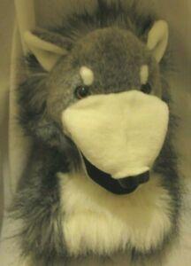 "Aurora Wolf Dog Husky Plush Hand Puppet Gray White  8"""