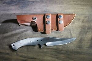 "9.5"" D2 Tool Steel HUNTING / CAPING BLADE KNIFE BLANK BLADE w/SHEATH"