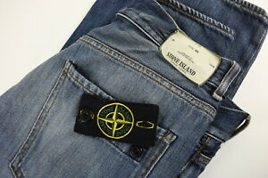 STONE ISLAND RE Men's W29/L34 Slim Fit Fade Effect Removable Logo Jeans 32051-GS