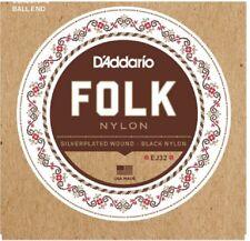 D'Addario EJ32 Folk Nylon, Ball End, Guitar Strings Silver Wound/Black Nylon