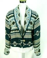 Flashback Jacket Sz M Cropped Blue Southwestern Cotton Tapestry Aztec Medium