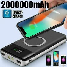 Qi 2000000mAh Power Bank Wireless Charging USB LCD Charger Portable Battery Pack
