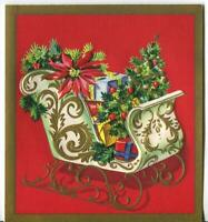 VINTAGE CHRISTMAS WHITE GOLD SLEIGH TREE PRESENT POINSETTIA EMBOSS GREETING CARD