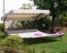 Leco Gartenliege / Doppelliege mit Dach anthrazit/beige Stahl