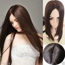 Women Dark Brown Full Long Straight Hair Wig 100% Real Hair! Cosplay Party Wigs