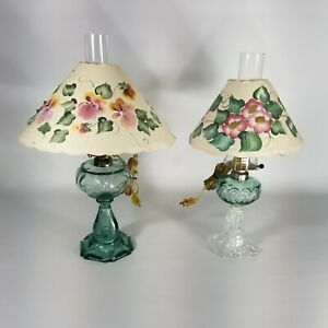 Antique Oil Lamps/Electrified Hand Blown Glass Parlor Lamps w/ Chimney & Shades
