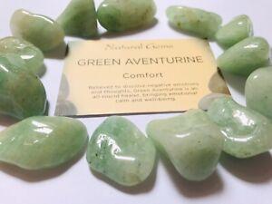 1 Green Aventurine Tumblestone  with free organza bag and crystal  card
