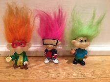 1993 Burger King Kids Club Set of 3 Glo Trolls Glow Dark Pink Green Orange Hair