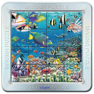 TROPICAL REEF 3D MAGNETIC JIGSAW PUZZLE IN METAL TIN CAN BE MADE ANYWHERE