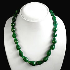 UNIQUE DESIGN EVER 368.00 CTS NATURAL PEAR FACETED GREEN EMERALD BEADS NECKLACE