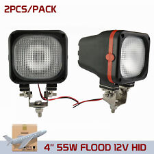 2X 4'' 12V 55W Flood Beam Xenon HID Off road Fog Lamp Mount Light Jeep 4X4 Truck