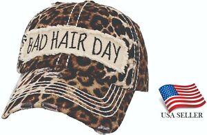 Leopard Baseball BAD HAIR DAY Cap Ball Hat Adjustable Dad Ladies Women Ballcap