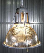 "Vtg 50s HOLOPHANE LOBAY 12"" signed industrial factory pendant light fixture"