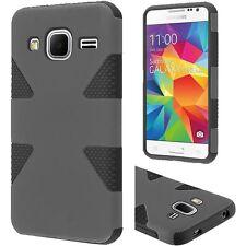 Grey on Black 2Layer Slim Case For Samsung Galaxy Prevail LTE Core S820L