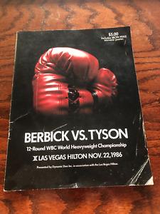 SUPER RARE Vintage Original 1986 MIKE TYSON vs BERBICK BOXING PROGRAM & POSTER