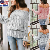 Womens Long Sleeve Off Shoulder Tops Ruffle Loose T Shirt Summer Beach Blouse US