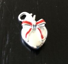 LOVELY S/P SILVER HEART WITH A RED BOW  CLIP ON CHARM FOR BRACELETS -  3D  - NEW