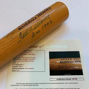 "Ted Williams ""Hero 1992"" & Nolan Ryan Signed Inscribed Upper Deck Bat JSA COA"