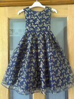 Monsoon  Girls Blue Gold Sparkly Butterflies Party/Wedding Dress 8-9 Years
