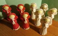 Lot 9 Vintage Ceramic Christmas Praying Angel Ornaments w Mica Snow Hand Painted