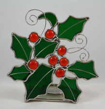 Stained Glass Christmas Holly and Berries Tea Light Candle Holder