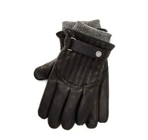 POLO RALPH LAUREN Quilted Racing Black Leather Gloves Mens M