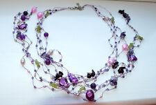 Amethyst Necklace Gemstone Mix Peridot Fresh Water Pearls Crystal on Silk Thread
